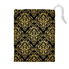 Damask1 Black Marble & Gold Brushed Metal Drawstring Pouch (xl) by trendistuff
