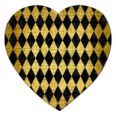 Diamond1 Black Marble & Gold Brushed Metal Jigsaw Puzzle (heart) by trendistuff