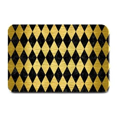Diamond1 Black Marble & Gold Brushed Metal Plate Mat by trendistuff