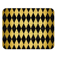 Diamond1 Black Marble & Gold Brushed Metal Double Sided Flano Blanket (large) by trendistuff