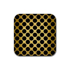 Circles2 Black Marble & Gold Brushed Metal (r) Rubber Square Coaster (4 Pack) by trendistuff