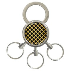 Circles2 Black Marble & Gold Brushed Metal (r) 3 Ring Key Chain by trendistuff