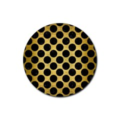 Circles2 Black Marble & Gold Brushed Metal (r) Rubber Coaster (round) by trendistuff