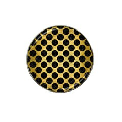 Circles2 Black Marble & Gold Brushed Metal (r) Hat Clip Ball Marker (4 Pack) by trendistuff
