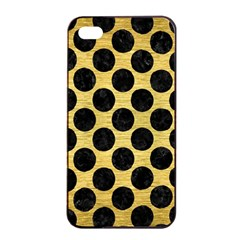 Circles2 Black Marble & Gold Brushed Metal (r) Apple Iphone 4/4s Seamless Case (black) by trendistuff