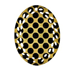 Circles2 Black Marble & Gold Brushed Metal (r) Oval Filigree Ornament (two Sides) by trendistuff
