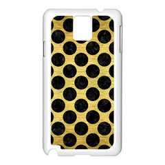 Circles2 Black Marble & Gold Brushed Metal (r) Samsung Galaxy Note 3 N9005 Case (white) by trendistuff