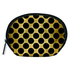 Circles2 Black Marble & Gold Brushed Metal (r) Accessory Pouch (medium) by trendistuff