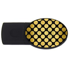 Circles2 Black Marble & Gold Brushed Metal Usb Flash Drive Oval (2 Gb) by trendistuff