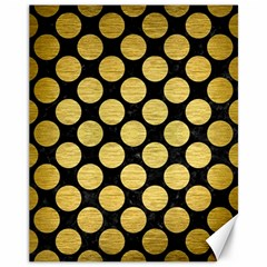 Circles2 Black Marble & Gold Brushed Metal Canvas 11  X 14  by trendistuff