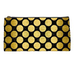 Circles2 Black Marble & Gold Brushed Metal Pencil Case by trendistuff