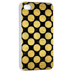 Circles2 Black Marble & Gold Brushed Metal Apple Iphone 4/4s Seamless Case (white) by trendistuff