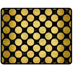 Circles2 Black Marble & Gold Brushed Metal Double Sided Fleece Blanket (medium) by trendistuff