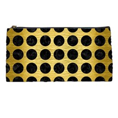 Circles1 Black Marble & Gold Brushed Metal (r) Pencil Case by trendistuff