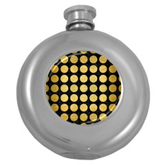 Circles1 Black Marble & Gold Brushed Metal Hip Flask (5 Oz) by trendistuff