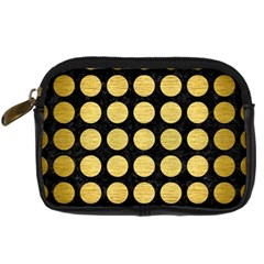 Circles1 Black Marble & Gold Brushed Metal Digital Camera Leather Case by trendistuff