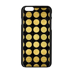 Circles1 Black Marble & Gold Brushed Metal Apple Iphone 6/6s Black Enamel Case