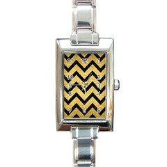 Chevron9 Black Marble & Gold Brushed Metal (r) Rectangle Italian Charm Watch by trendistuff