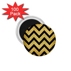 Chevron9 Black Marble & Gold Brushed Metal (r) 1 75  Magnet (100 Pack)  by trendistuff