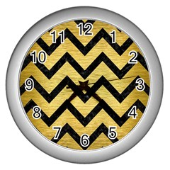 Chevron9 Black Marble & Gold Brushed Metal (r) Wall Clock (silver) by trendistuff
