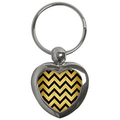 Chevron9 Black Marble & Gold Brushed Metal (r) Key Chain (heart) by trendistuff