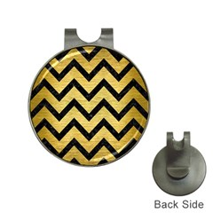 Chevron9 Black Marble & Gold Brushed Metal (r) Golf Ball Marker Hat Clip by trendistuff