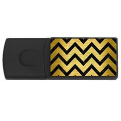 Chevron9 Black Marble & Gold Brushed Metal (r) Usb Flash Drive Rectangular (4 Gb) by trendistuff