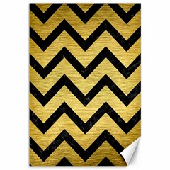 Chevron9 Black Marble & Gold Brushed Metal (r) Canvas 12  X 18  by trendistuff