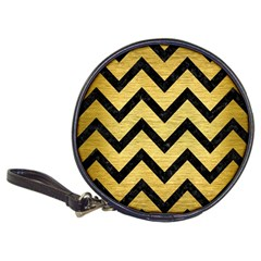 Chevron9 Black Marble & Gold Brushed Metal (r) Classic 20 Cd Wallet by trendistuff