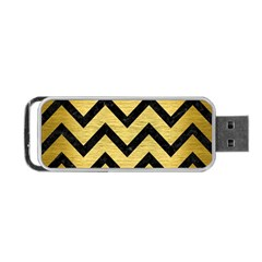 Chevron9 Black Marble & Gold Brushed Metal (r) Portable Usb Flash (two Sides) by trendistuff