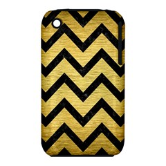 Chevron9 Black Marble & Gold Brushed Metal (r) Apple Iphone 3g/3gs Hardshell Case (pc+silicone) by trendistuff