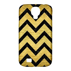 Chevron9 Black Marble & Gold Brushed Metal (r) Samsung Galaxy S4 Classic Hardshell Case (pc+silicone) by trendistuff