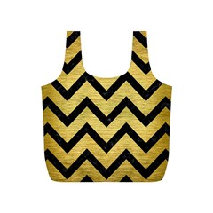 Chevron9 Black Marble & Gold Brushed Metal (r) Full Print Recycle Bag (s) by trendistuff