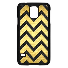 Chevron9 Black Marble & Gold Brushed Metal (r) Samsung Galaxy S5 Case (black) by trendistuff