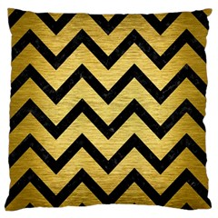Chevron9 Black Marble & Gold Brushed Metal (r) Standard Flano Cushion Case (one Side) by trendistuff