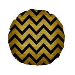 Chevron9 Black Marble & Gold Brushed Metal (r) Standard 15  Premium Flano Round Cushion  by trendistuff