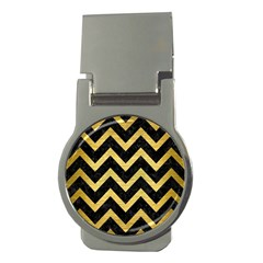 Chevron9 Black Marble & Gold Brushed Metal Money Clip (round) by trendistuff