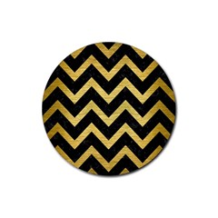 Chevron9 Black Marble & Gold Brushed Metal Rubber Coaster (round) by trendistuff