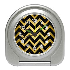 Chevron9 Black Marble & Gold Brushed Metal Travel Alarm Clock by trendistuff