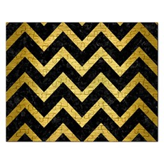Chevron9 Black Marble & Gold Brushed Metal Jigsaw Puzzle (rectangular) by trendistuff