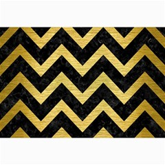 Chevron9 Black Marble & Gold Brushed Metal Collage 12  X 18  by trendistuff