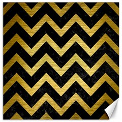 Chevron9 Black Marble & Gold Brushed Metal Canvas 12  X 12  by trendistuff