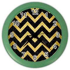 Chevron9 Black Marble & Gold Brushed Metal Color Wall Clock by trendistuff