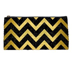 Chevron9 Black Marble & Gold Brushed Metal Pencil Case by trendistuff