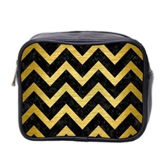 Chevron9 Black Marble & Gold Brushed Metal Mini Toiletries Bag (two Sides) by trendistuff