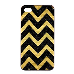 Chevron9 Black Marble & Gold Brushed Metal Apple Iphone 4/4s Seamless Case (black) by trendistuff