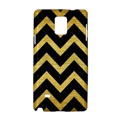 Chevron9 Black Marble & Gold Brushed Metal Samsung Galaxy Note 4 Hardshell Case by trendistuff