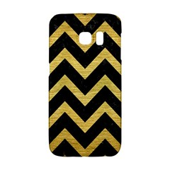 Chevron9 Black Marble & Gold Brushed Metal Samsung Galaxy S6 Edge Hardshell Case