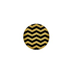 Chevron3 Black Marble & Gold Brushed Metal 1  Mini Button by trendistuff