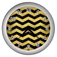 Chevron3 Black Marble & Gold Brushed Metal Wall Clock (silver) by trendistuff